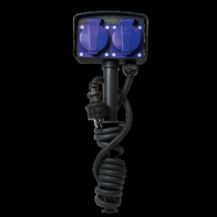 Imagine Prelungitor pentru exterior cu protectie IP44 cu 2 prize Schuko, Logilink LPS214