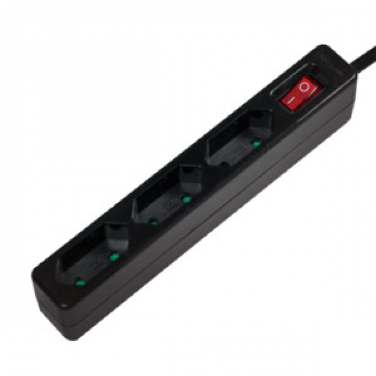Imagine Prelungitor slim cu 3 prize euro Switch On/OFF 1.5m Negru, Logilink LPS230B