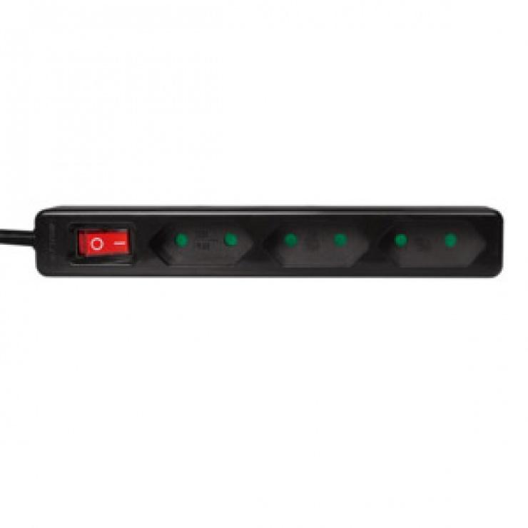 Imagine Prelungitor slim cu 3 prize euro Switch On/OFF 1.5m Negru, Logilink LPS230B-1