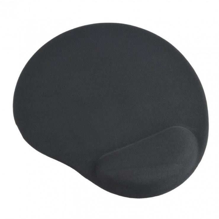Imagine Mouse pad cu gel baza de cauciuc antiderapanta Negru, MP-GEL-BK