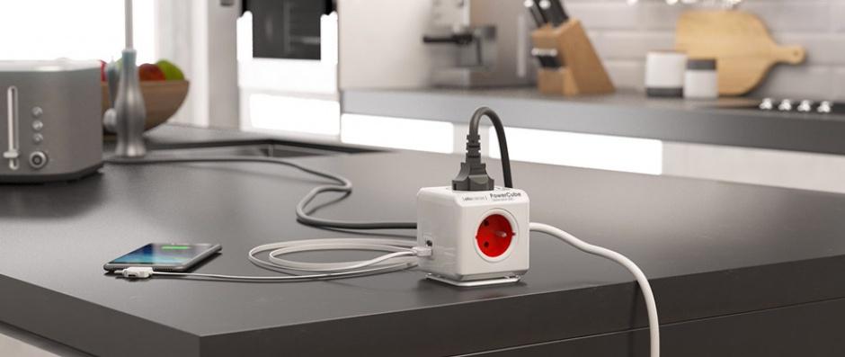 Imagine Prelungitor in forma de cub PowerCube Extended 5 prize 3m Rosu, Allocacoc-1