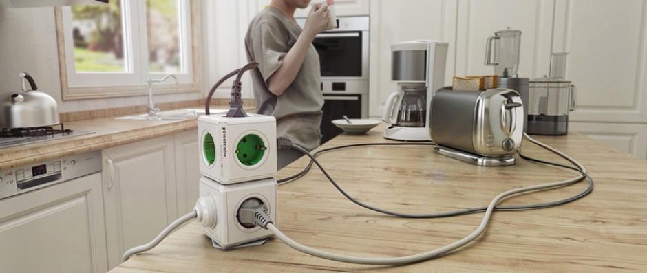 Imagine Prelungitor in forma de cub PowerCube Original 4 prize Schuko si 2 X USB Verde, Allocacoc-1