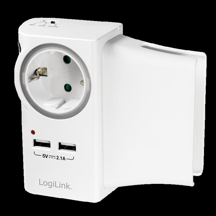 Imagine Incarcator priza cu 2 x USB 5V/2.1A si suport telefon, Logilink PA0165