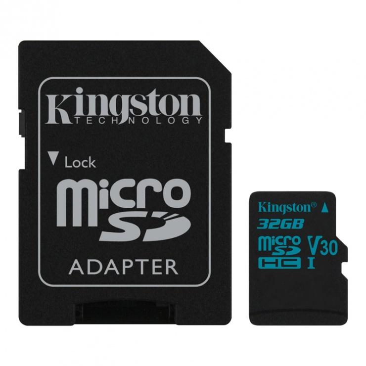 Imagine Card de memorie micro SDHC + adaptor SD 32GB clasa 10 UHS-I, Kingston SDCG2/32GB