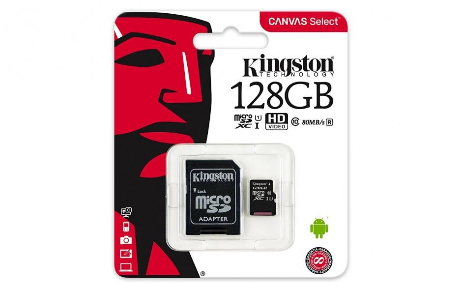 Imagine Card de memorie micro SDXC Canvas Select 128GB clasa 10 + adaptor SD, Kingston SDCS/128GB
