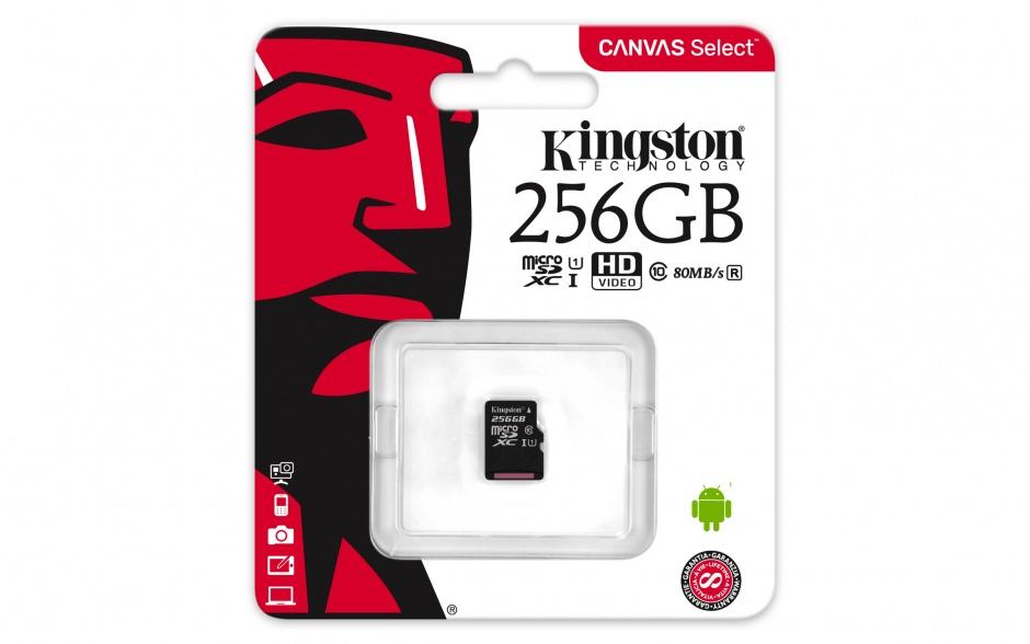 Imagine Card de memorie micro SDXC Canvas Select 256GB clasa 10, Kingston SDCS/256GBSP