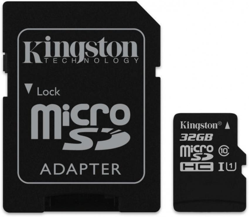 Imagine Card de memorie micro SDHC Canvas Select 32GB clasa 10 + adaptor SD, Kingston SDCS/32GB