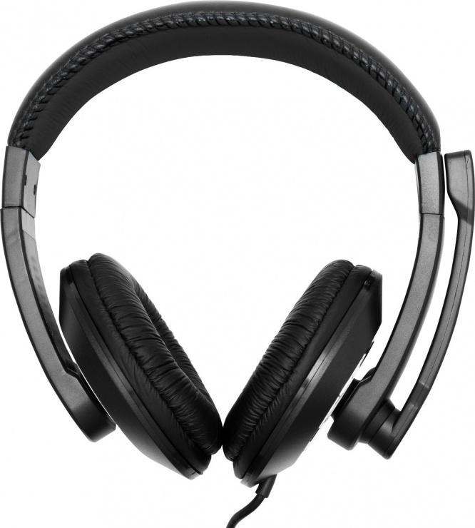 Imagine Casti cu microfon jack stereo 3.5mm Negre, Spacer SPC-819