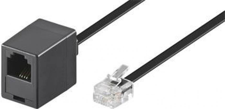 Imagine Cablu prelungitor telefon RJ11 6p4c 10m Negru, Goobay 68257