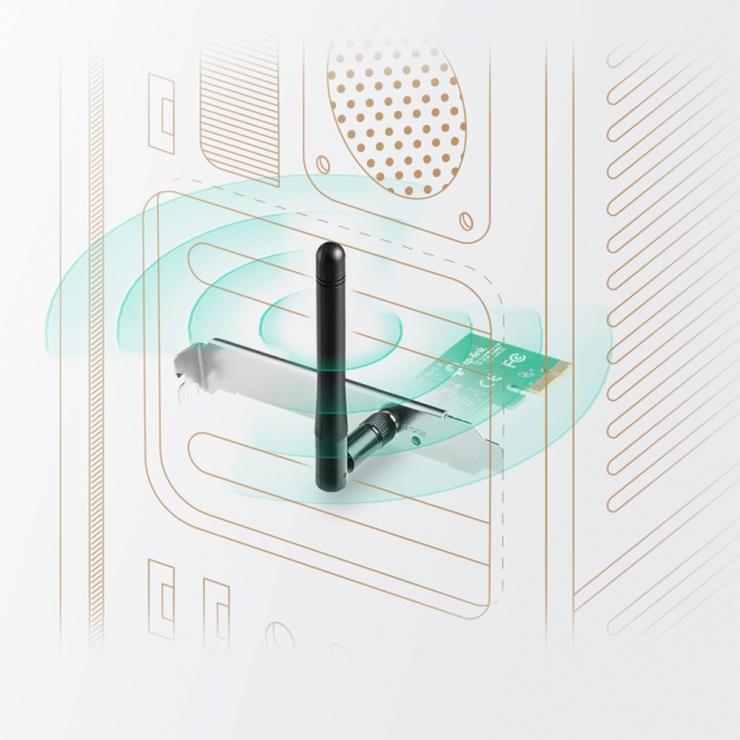 Imagine Placa retea Wireless PCI-E 150Mbps, TP-LINK TL-WN781ND-2
