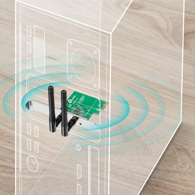 Imagine Placa de retea Wireless PCI-E 300Mbps 2T2R, TP-LINK TL-WN881ND-2