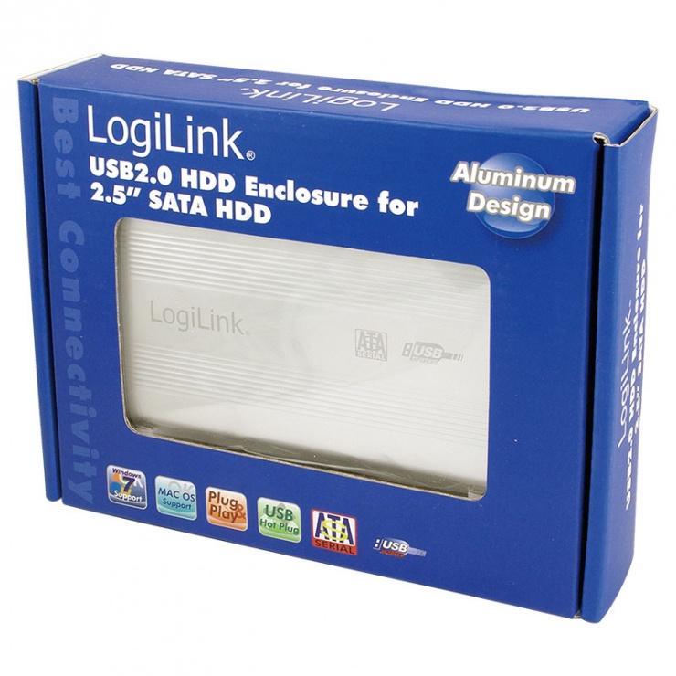 "Imagine Rack extern USB 2.0 pentru HDD/SSD 2.5"" SATA III, Logilink UA0041A-2"