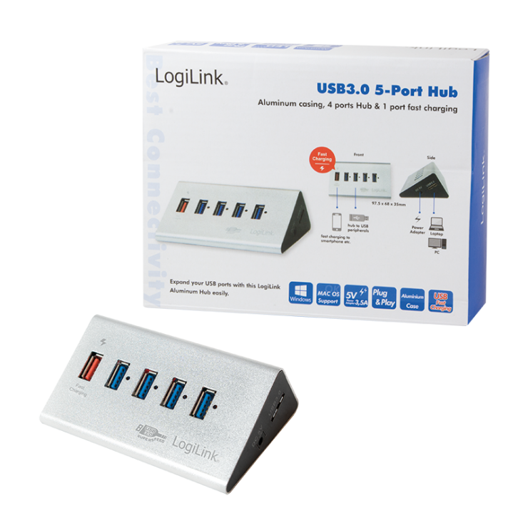 Imagine HUB USB 3.0 cu 4 porturi + 1 port Quick/Fast charge montare masa, Logilink UA0227