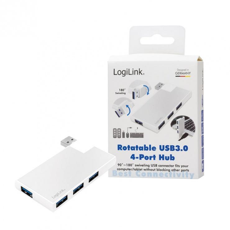 Imagine HUB USB 3.0 cu 4 porturi rotabil 180 grade, Logilink UA0303