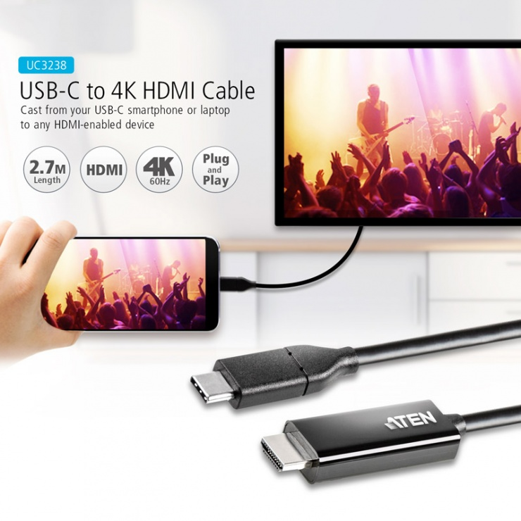 Imagine Cablu USB-C la HDMI 4K@60Hz T-T 2.7m Negru, ATEN UC3238-1
