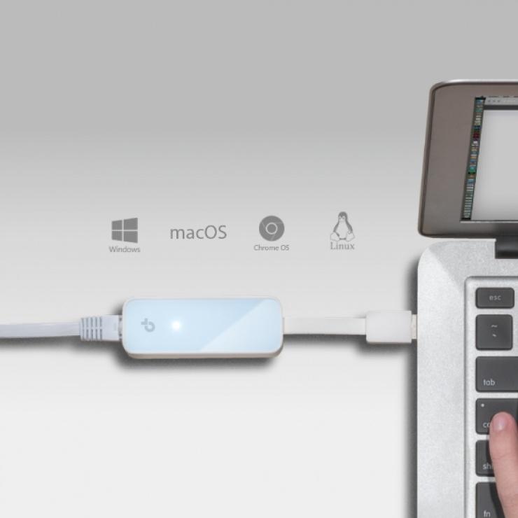 Imagine Adaptor retea USB 2.0 la retea 10/100 Mb/s, TP-LINK UE200-4