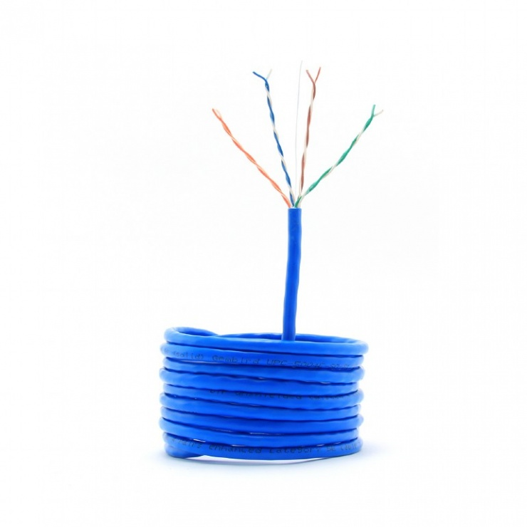 Imagine Rola cablu de retea UTP cat 5e fir solid 305m bleu, Gembird UPC-5004E-SO-BLUE