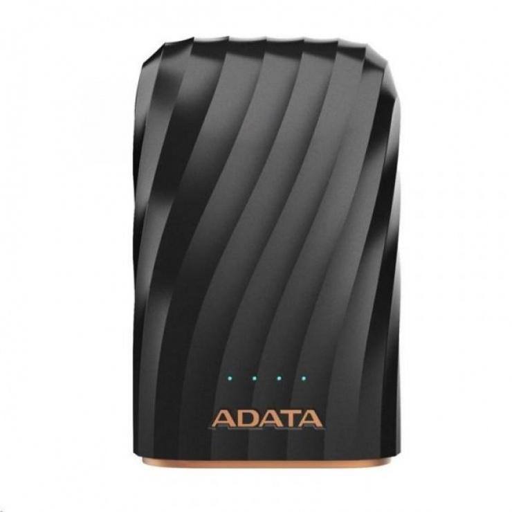 Imagine POWER BANK ADATA 10050mAh 2 x USB + input USB-C 2.4A Negru, A-DATA