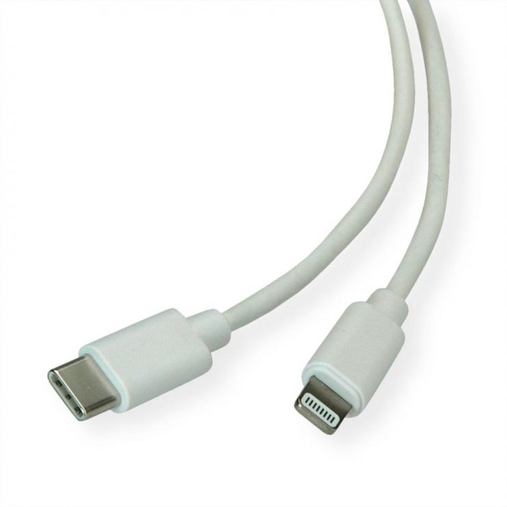 Imagine Cablu de date + incarcare USB-C la iPhone Lightning MFI T-T 1m Alb, Roline 11.02.8323
