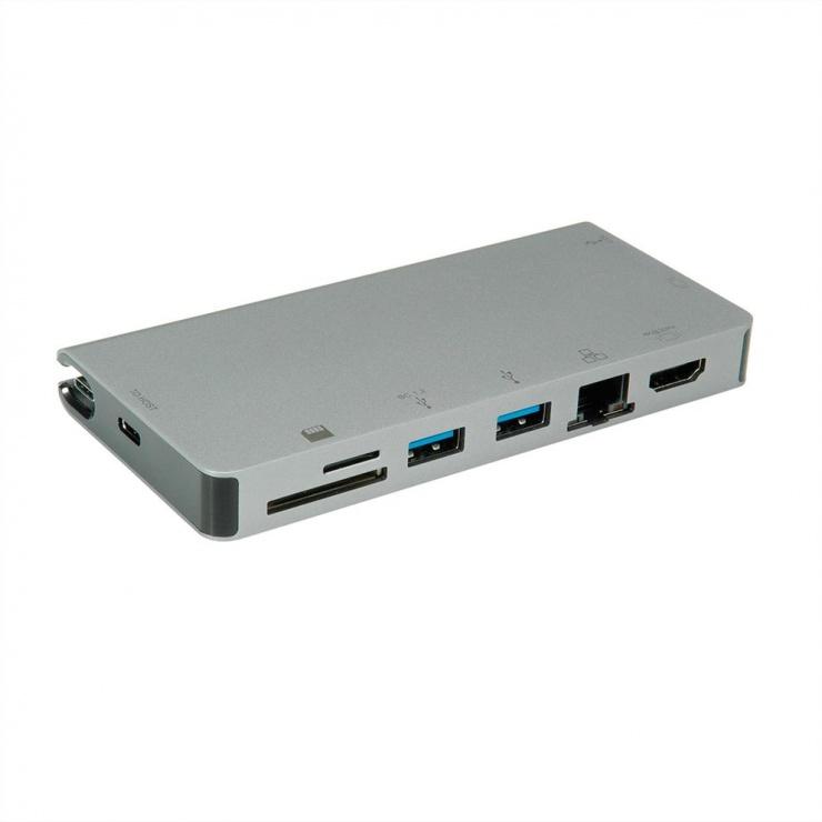 Imagine Docking station USB-C la HDMI 4K60Hz/VGA/2 x USB 3.1 Gen 1/LAN/PD/Cititor de carduri, Roline 12.02.1022