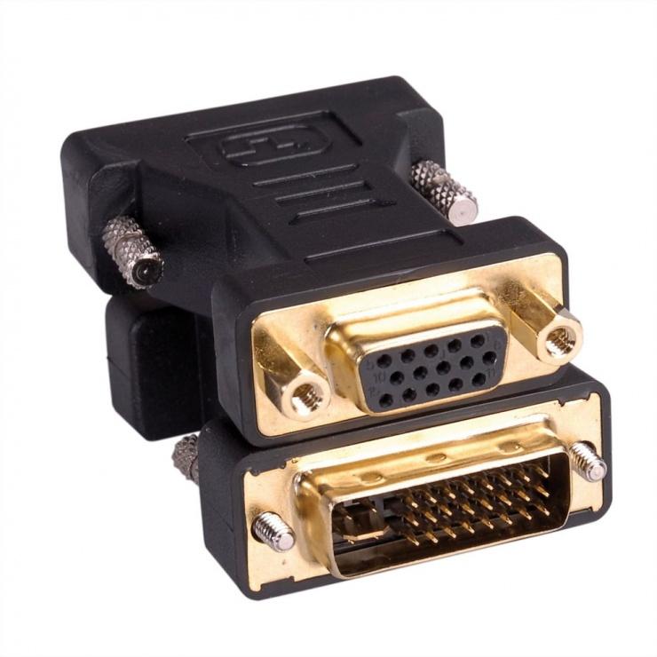 Imagine Adaptor DVI-I Dual Link 24+5pini la VGA 15pini T-M, Roline 12.03.3105