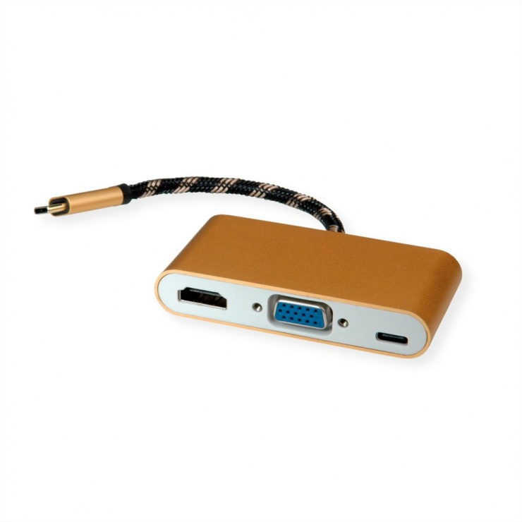 Imagine Adaptor GOLD USB-C la HDMI/VGA T-M cu alimentare PD USB-C, Roline 12.03.3155