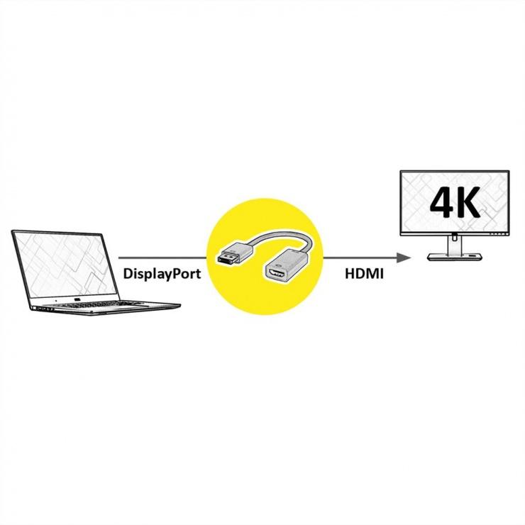 Imagine Adaptor Displayport la HDMI v1.2 Activ 4K2K Gold, Roline 12.03.3170