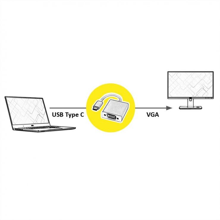 Imagine Adaptor USB 3.1 tip C la VGA T-M Aluminiu, Roline 12.03.3200
