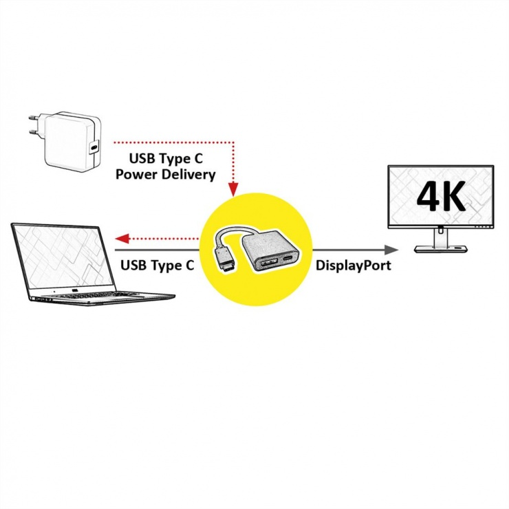 Imagine Adaptor USB-C la Displayport v1.2 + 1 x USB-C PD (Power Delivery) T-M, Roline 12.03.3221