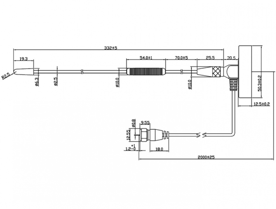 Imagine Antena DAB+ omnidirectionala cu stand F Plug, Delock 12412