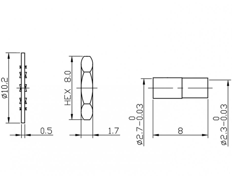 Imagine Conector RP-SMA Jack bulkhead crimping splash proof, Delock 12453