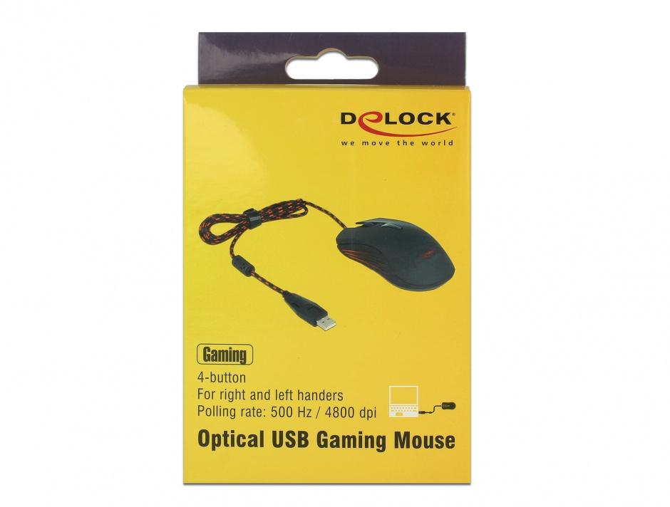 Imagine Mouse Gaming optic 4 butoane USB negru, Delock 12531