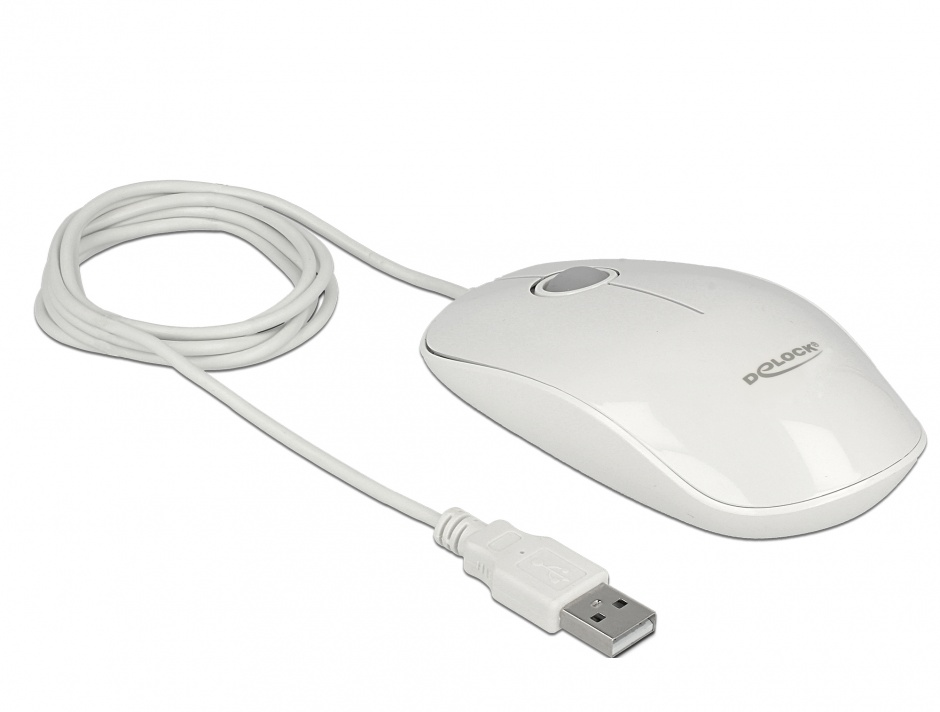 Imagine Mouse optic Alb pe USB cu LED, Delock 12537