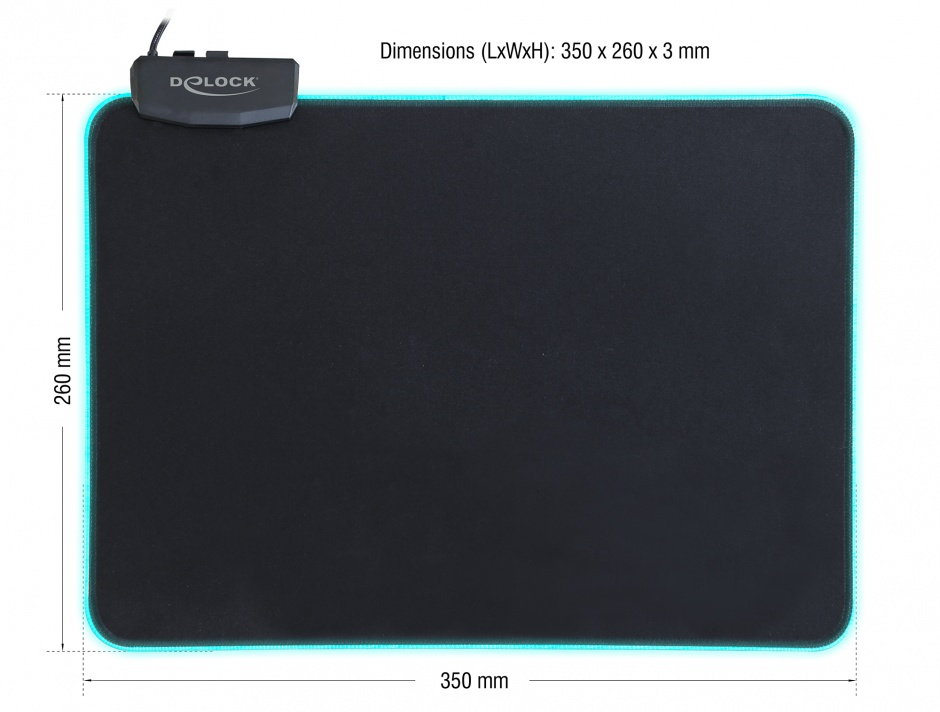 Imagine Mouse Pad 350 x 260 x 3 mm cu iluminare RGB, Delock 12554