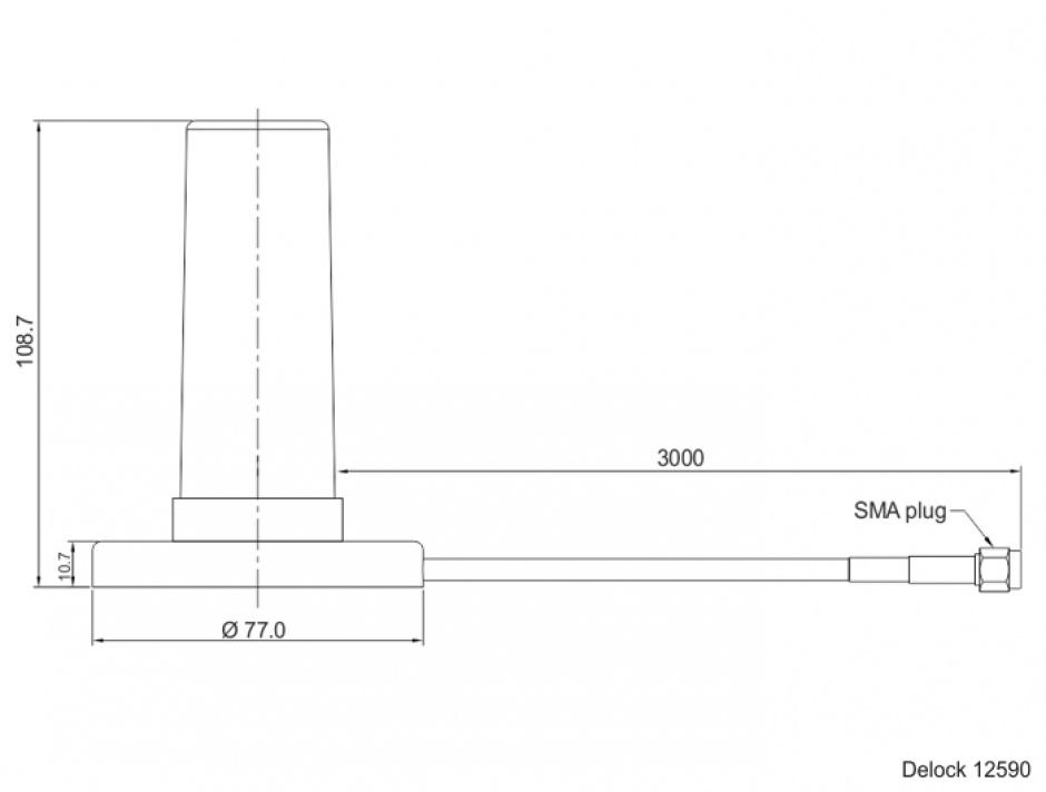 Imagine Antena de exterior fixa omnidirectionala 5G LTE SMA plug 0 - 3 dBi 3m Negru, Delock 12590