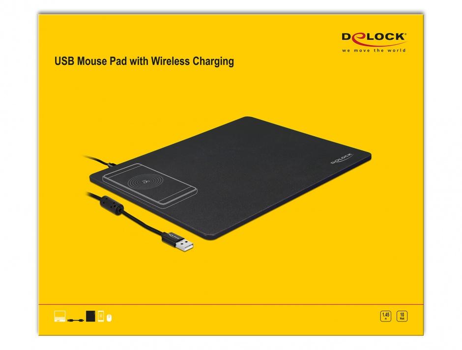 Imagine Mouse pad cu functia de incarcare wireless Negru, Delock 12595