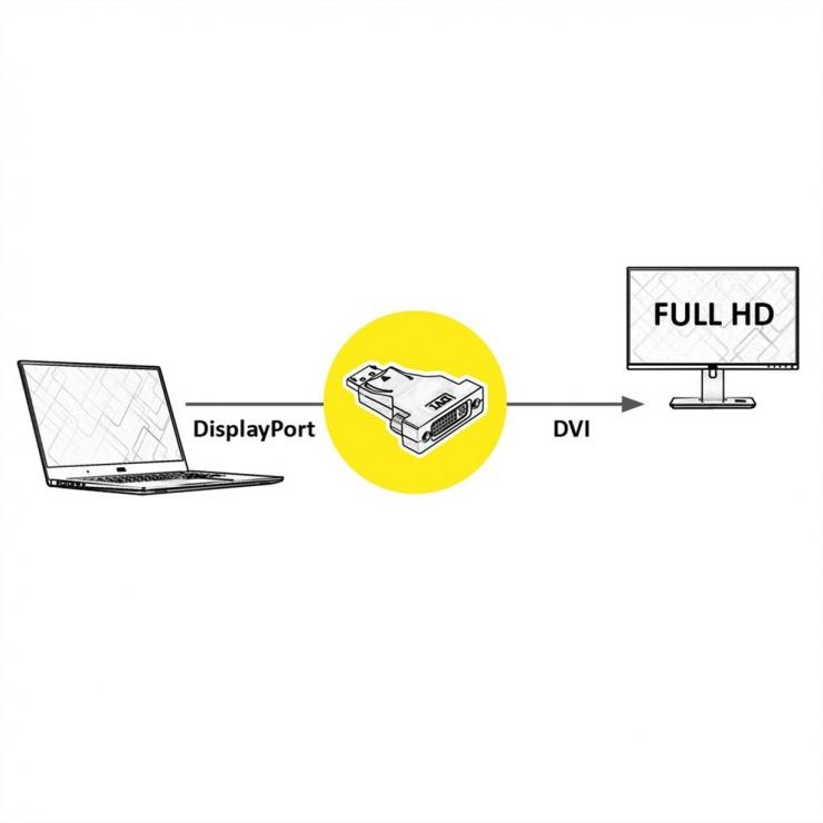 Imagine Adaptor Displayport la DVI T-M, Value 12.99.3157