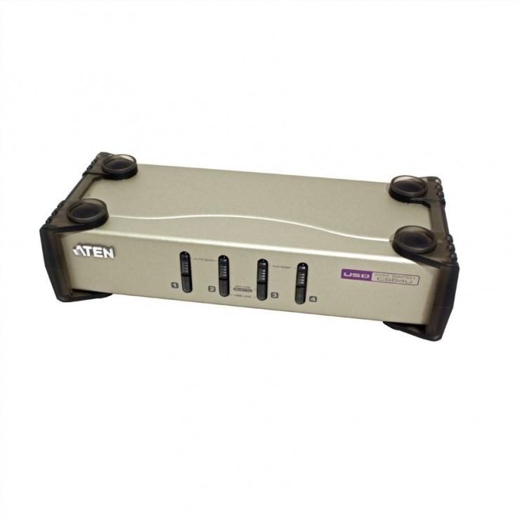 Imagine KVM Switch PS/2-USB VGA cu 4 porturi, Aten CS84U-3