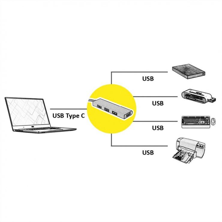 Imagine HUB USB 3.1-C GOLD la 4 x USB-A, Roline 14.02.5039