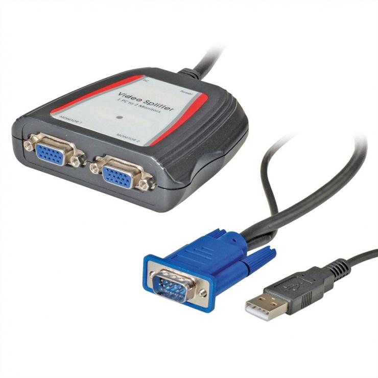 Imagine Spliter portabil VGA 2 porturi, Value 14.99.3523