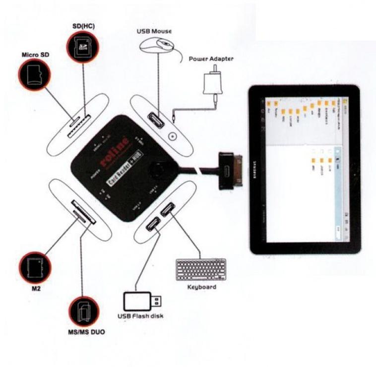 Imagine Cititor de carduri + Hub USB 2.0 OTG pentru Samsung, Roline 15.08.6255-1