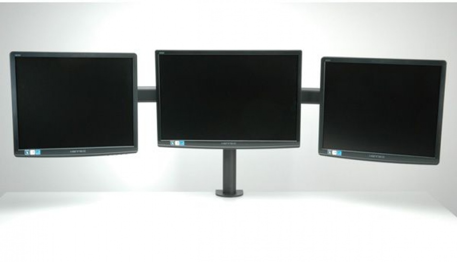 Imagine Suport pentru 3 x monitor LCD VESA 75/100 prindere masa, Value 17.99.1136
