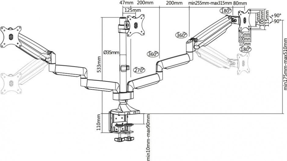 Imagine Suport 3 monitoare cu montare birou Gas spring Argintiu, Value 17.99.1160-5