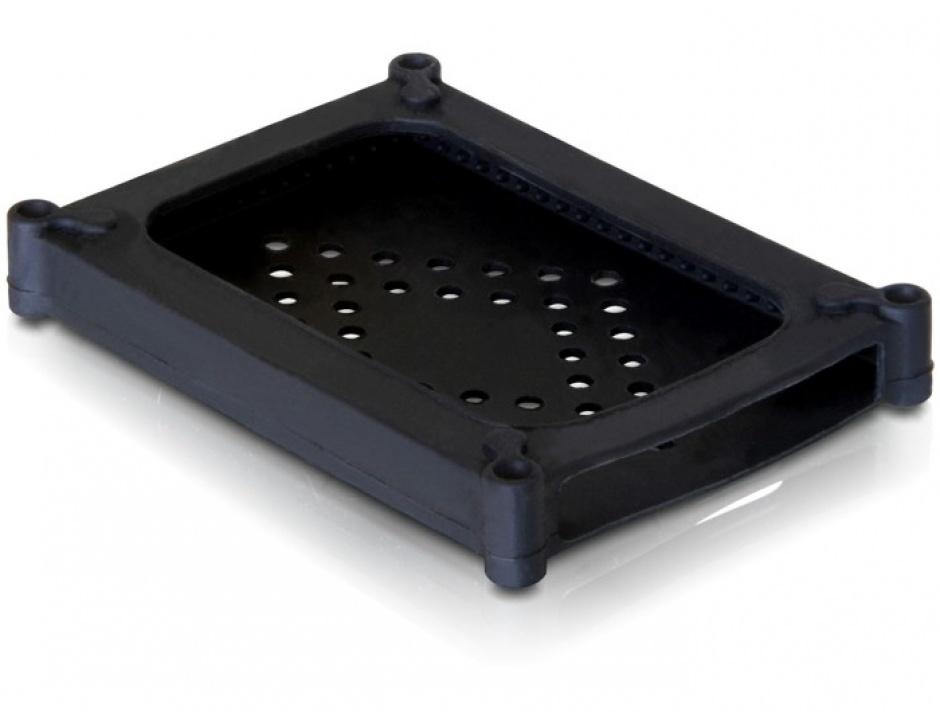 """Imagine Carcasa de protectie din silicon pentru HDD 2.5"""" neagra, Delock 18178"""