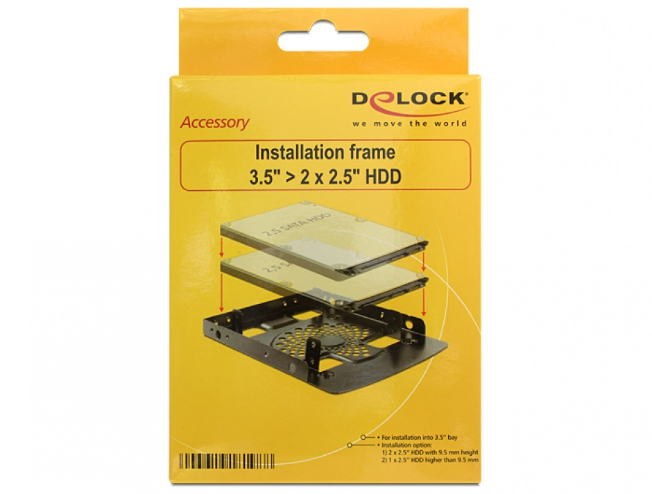 "Imagine Kit montare 3.5"" pentru 2 x 2.5"" HDD, Delock 18198"