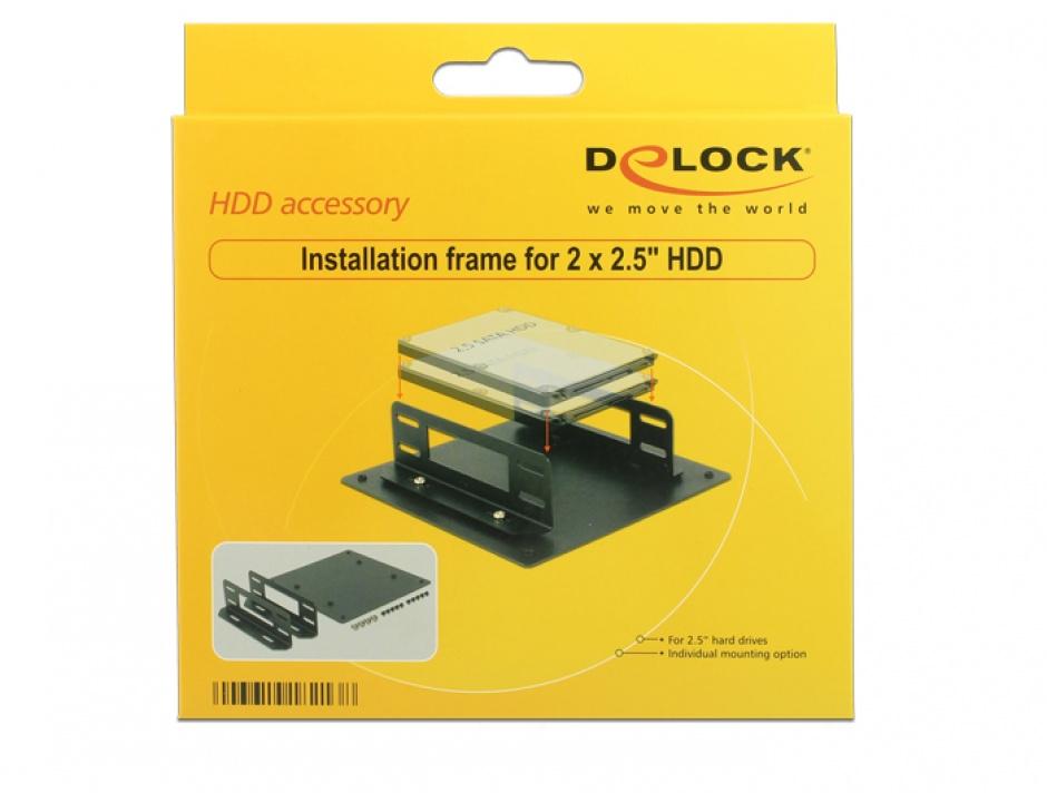 "Imagine Kit pentru montare 2 x 2.5"" HDD, Delock 18213"