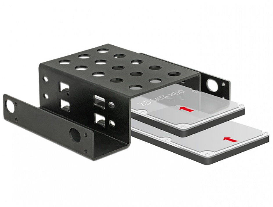 "Imagine Kit de montare 2 x 2.5"" HDD in bay 5.25"" Negru metal, Delock 18270"