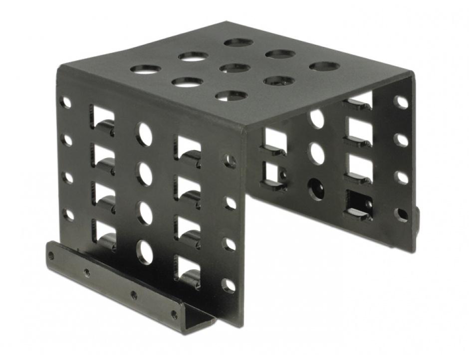 "Imagine Kit de montare 4 x 2.5"" HDD in bay 3.5"" negru metal, Delock 18271"