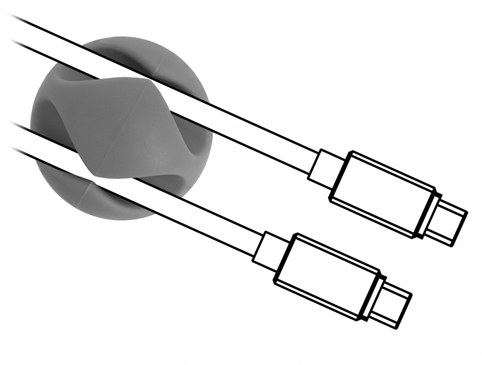 Imagine Set 6 buc ghidaje cablu 2 sloturi 3 albe/3 gri, Delock 18295