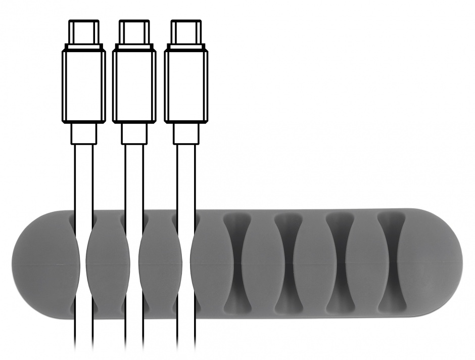 Imagine Set 6 buc ghidaje cablu 7 sloturi 2 albe/2 negre/2 gri, Delock 18301